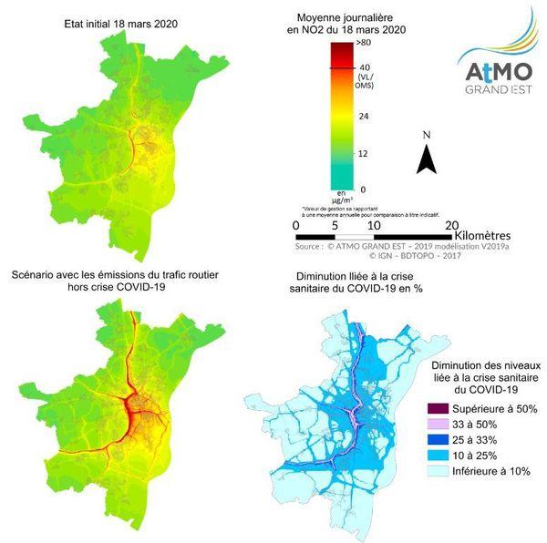 Impact du confinement sur les oxydes d'azote (monoxyde d'azote + dioxyde d'azote) : modélisation de la journée du 18 mars avec et sans confinement