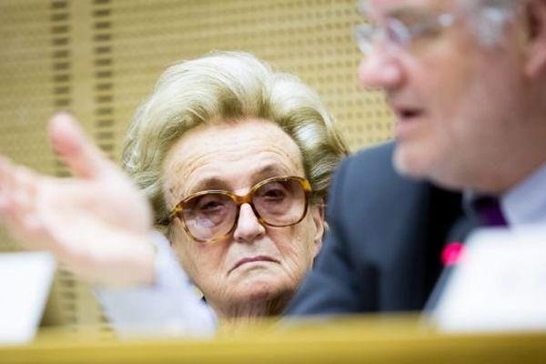 Paris 12/03/2014 La conseillere generale de Correze Bernadette CHIRAC participe a une conference de presse au Senat contre le redecoupage cantonal