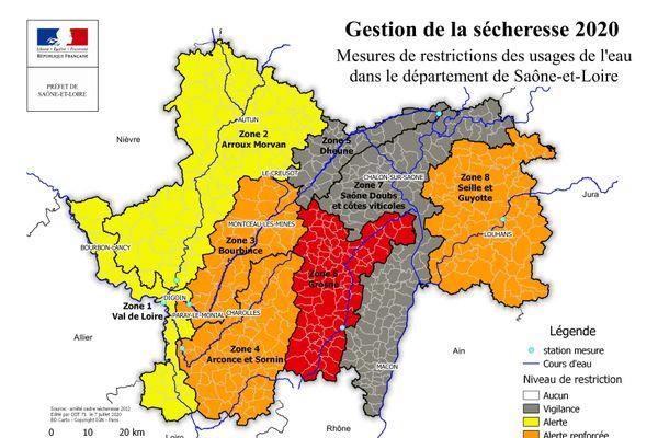 La carte vigilance sécheresse en Saône-et-Loire  - jeudi 9 juillet