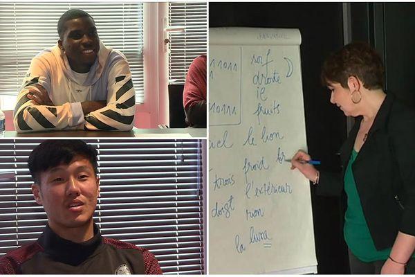 Ojo Sheyi, joueur britannique du Stade de Reims (en haut), Suk Hyun-Jun, joueur coréen du Stade de Reims (en bas), Anca Bredy-Mandi, professeur enseignante de français.