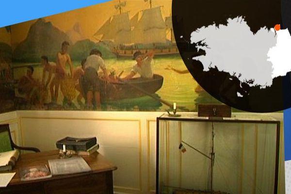 Le bureau de l'armateur, pièce que l'on peut visiter au Puits sauvage, une malouinière de XVIIIème siècle.