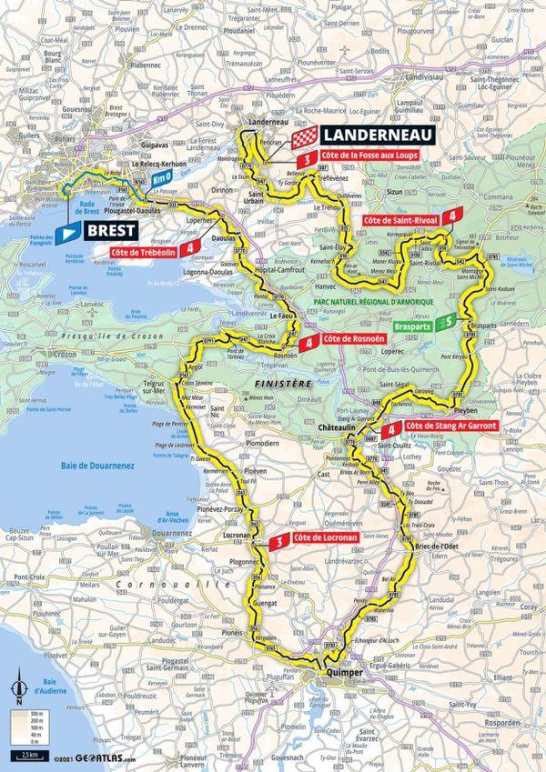 Un départ de Brest et 198 km qui emmèneront les coureurs sur les routes du Finistère jusqu'à Landerneau
