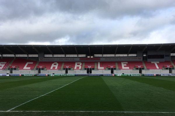 Le Parc y Sacrlets à Llanelli au Pays de Galles, où se joue le quart de finale de Coupe d'Europe entre les Scarlets et le Stade Rochelais, le 30 mars 2018
