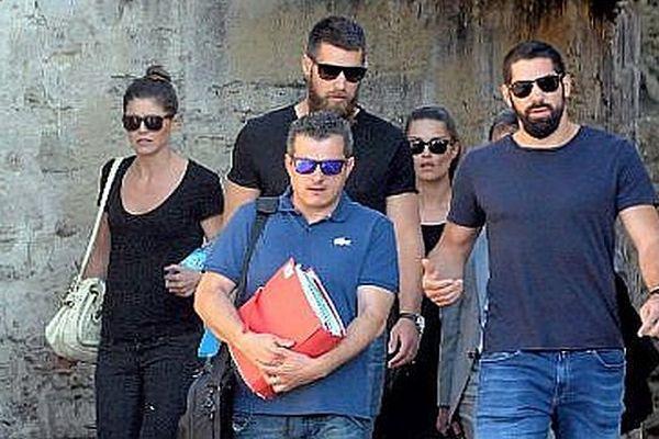 Montpellier - J.PRIEZ, G.PILLET, Luka et Nikola KARABATIC, Me CORBIER se rendent au tribunal - 17 juin 2015