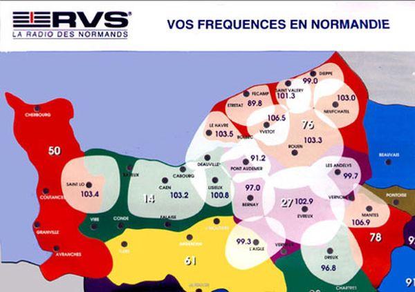 La carte des fréquences des différents émetteurs de RVS en Normandie