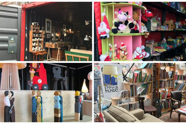 Au Marché off, les chalets sont remplacés par des containers du port du Rhin. Ils accueillent des créateurs locaux, des jouets et livres d'occasion ou des objets recyclés.