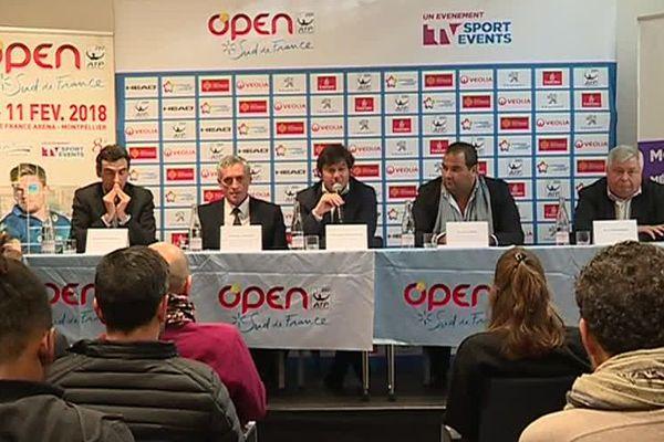 Organisateurs et partenaires présentaient ce mercredi après-midi l'Open Sud de France qui aura lieu du 4 au 11 février à l'Arena - janvier 2018