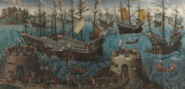 L'embarquement d'Henri VIII à Douvres pour Calais, artiste et date inconnus.
