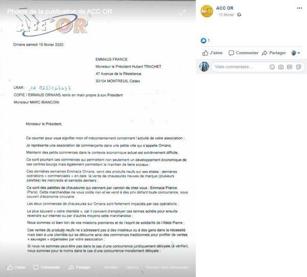 Courrier envoyé par le président d'Acc'Or à Emmaüs