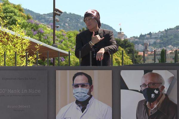 Bruno Bébert et ses portraits, à découvrir promenade du Paillon à Nice.