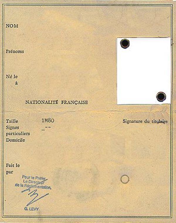 Carte d'identité avant 1995