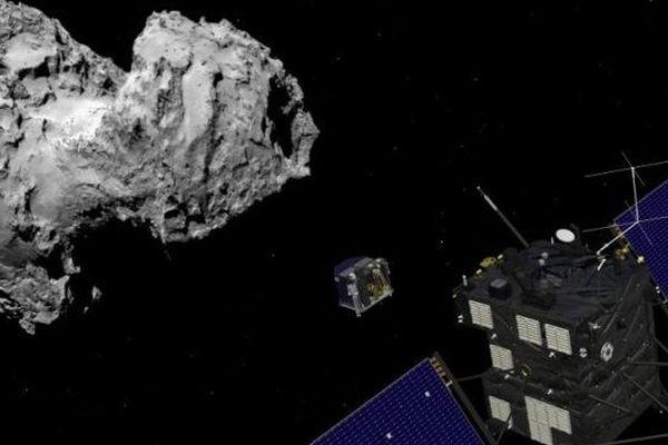 Vue de l'orbiter et de l'atterrisseur Philae