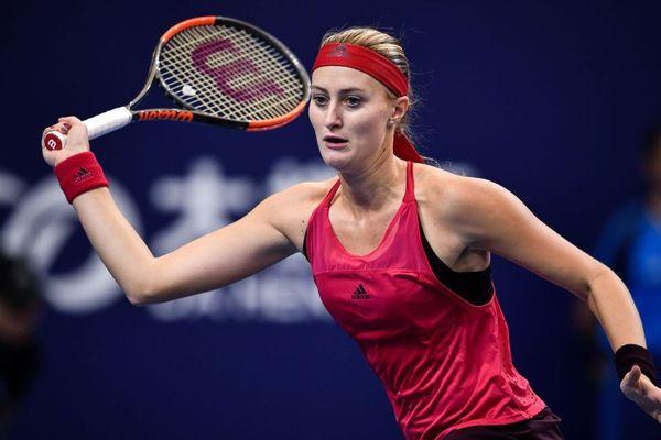 Kristina Mladenovic photographiée lors d'un match contre l'Allemande Julia Goerges pendant le tournoi Zuhai Elite Trophy, en Chine.
