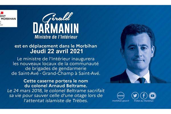 Le ministre de l'Intérieur Gérald Darmanin s'est rendu dans le Morbihan le 22 avril 2021.