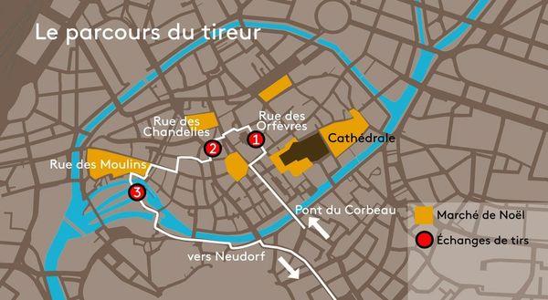 Le parcours du tireur au centre-ville de Strasbourg.