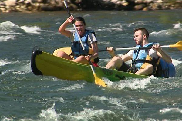 Le retour des canoës sur la rivière Ardèche