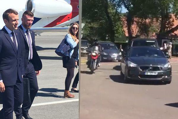 Emmanuel Macron à son arrivée à l'aéroport du Touquet. A droite, un bras présidentiel qui salue la foule