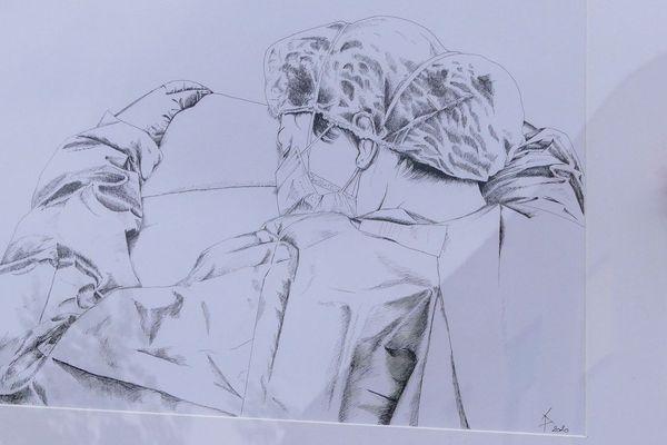 11 tableaux et dessins ont été réalisés par les policiers et sont mis en vente pour la tombola
