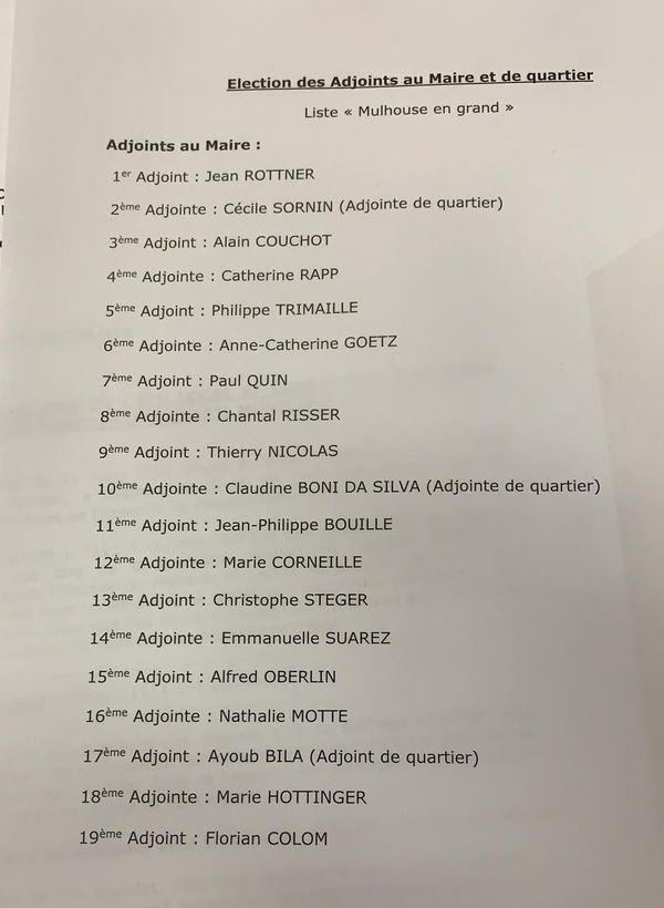 Nom des élus sur la liste conduite par Michèle Lutz