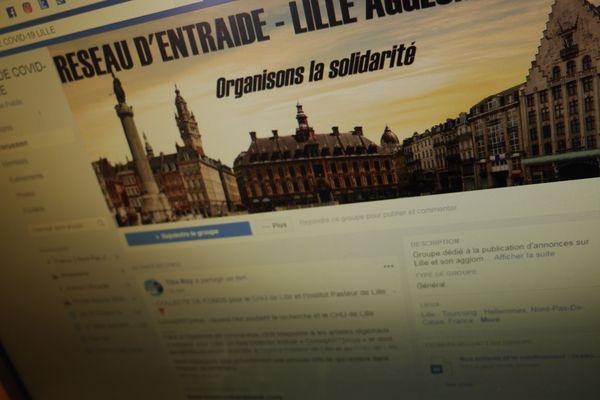 """La page d'accueil du groupe Facebook """"Réseau d'entraide Covid-19 Lille"""""""