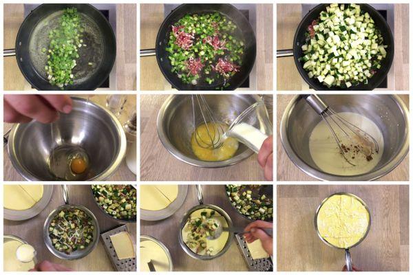 Les étapes de la recette des lasagnes aux courgettes