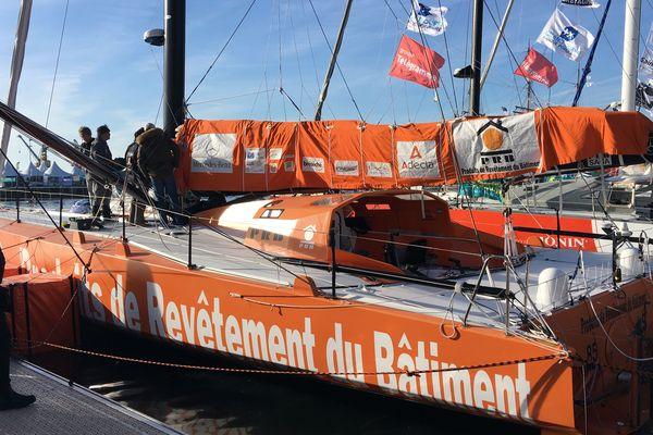 Le voilier Imoca PRB 5 de Vincent Riou à Saint-Malo avant le départ de la Route du Rhum 2018