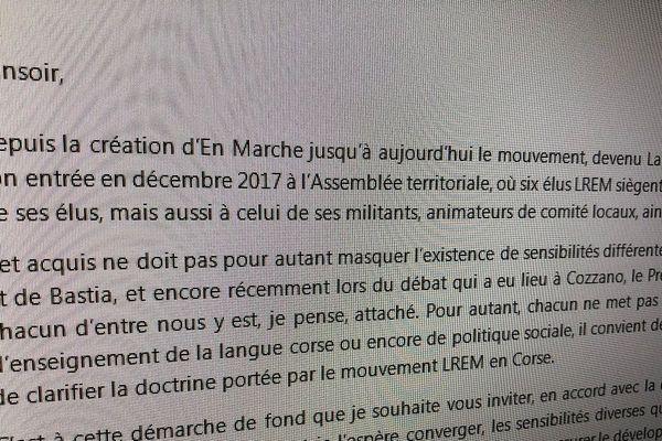 Une lettre interne a été envoyée à certains membre de LREM en Corse.
