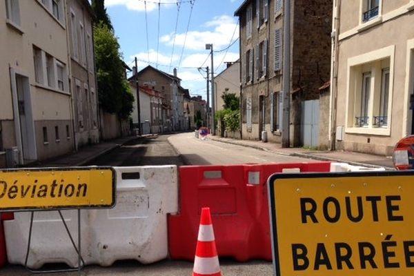 La rue d'Anthony à Limoges, en travaux pour une semaine.