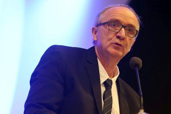 Le maire PCF d'Avion Jean-Marc Tellier pendant sa cérémonie des vœux 2018.
