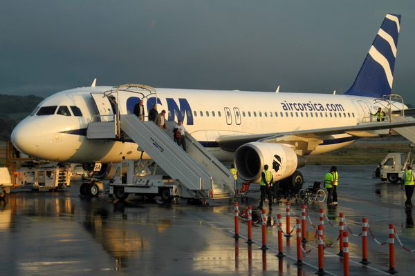 ILLUSTRATION - A320 de la compagnie Air Corsica sur le tarmac de l'aéroport d'Ajaccio