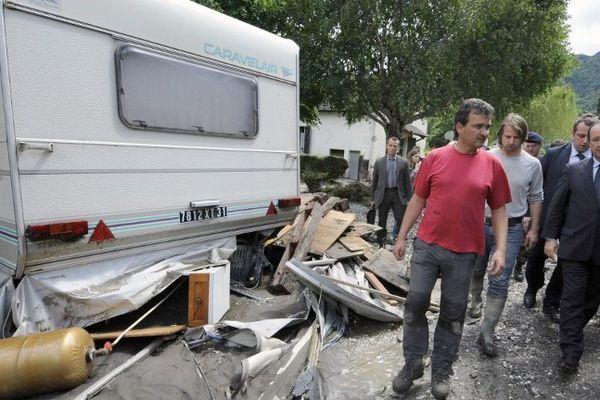 Le président François Hollande avait visité un des campings de Saint-Béat le 20 juin.