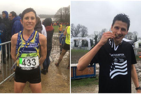 Le sourire et le goût de la médaille pour les deux champions de Bretagne de cross-country : Karine Pasquier et Benoît Fanouillère