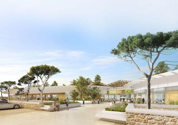 Maquette virtuelle du projet de centre commercial Kallisté à Lucciana (depuis le parking est).