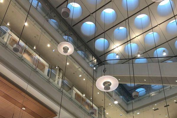 """Les """"Marylin"""", puits de lumière de 2 mètres de diamètre permettent à la lumière naturelle d'être omniprésente dans le tribunal."""