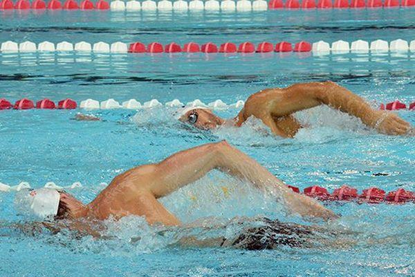 Les nageurs de l'équipe de France à la piscine olympique de Dijon en préparation aux championnats du monde de natation en juillet 2013