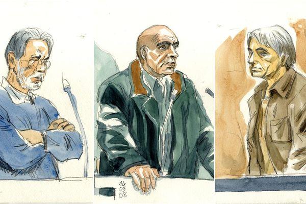 Michel Fourniret, Jean-Pierre Hellegouarch et Monique Olivier, croqués par Thierry Doudoux en 2008