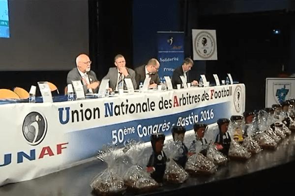 L'Union nationale des arbitres de football tient son congrès à Bastia, le 6 mai 2016.
