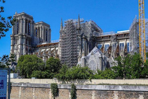 Les travaux de la cathédrale Notre-Dame de Paris le 1er juin dernier, avant le démontage de l'échafaudage qui avait pris feu. Paris (illustration).