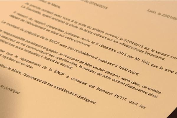 Dans cette lettre adressée au maire de Hautecour, la SNCF demande 1 million d'euros