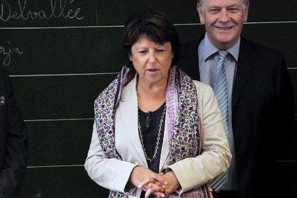 Martine Aubry en visite à l'école élementaire Moulins-Pergaud à Lille en septembre 2011.