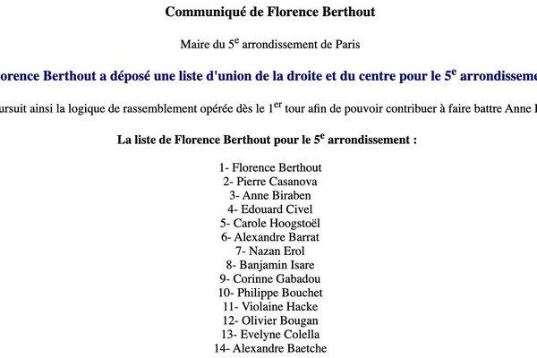 Communiqué de Florence Berthout qui affirme mener une liste d'union de la droite et du centre