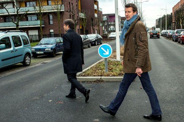 Damien Carême et Yannick Jadot, à Grande-Synthe, lors de la campagne d'EELV pour les européenne.