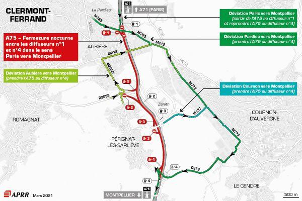 Fermeture de l'A75 entre le diffuseur n°1 Pardieu et le diffuseur n°4 Roche Blanche Orcet dans le sens Paris vers Montpellier.