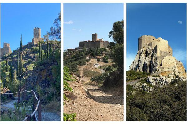 Lastours, Saint-Elme et Queribus, trois des 5 châteaux à conquérir en Occitanie.