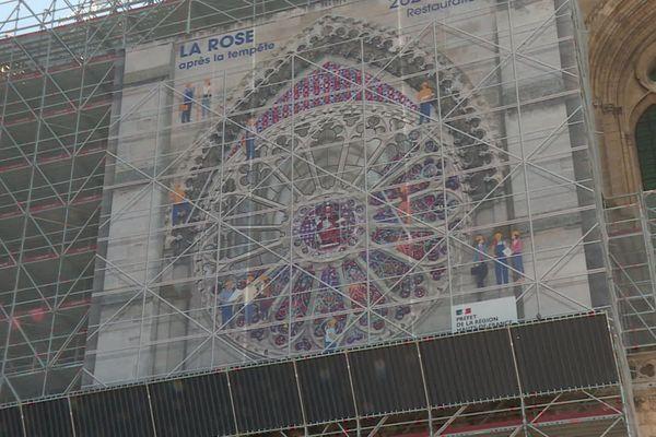 Pour l'heure et jusqu'à fin 2021, les travaux de la cathédrale de Soissons se concentrent sur la rosace.