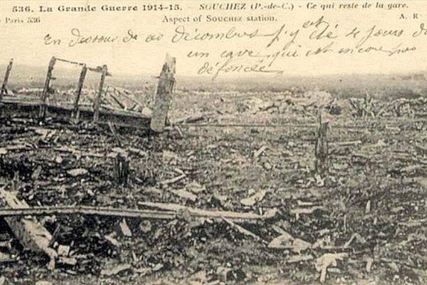 Ce qu'il reste de Souchez en 1918 après quatre ans de combats et de pilonnage d'obus