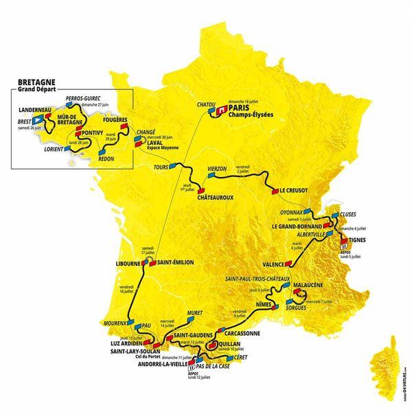 La carte du Tour de France 2021 qui s'élancera de Brest le 26 juin