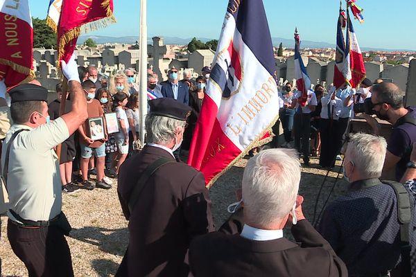 30 personnes se sont rassemblées le 18 août 2021 au cimetière Ouest de Perpignan en hommage au soldat français mort en Afghanistan, Rodolphe Penon.