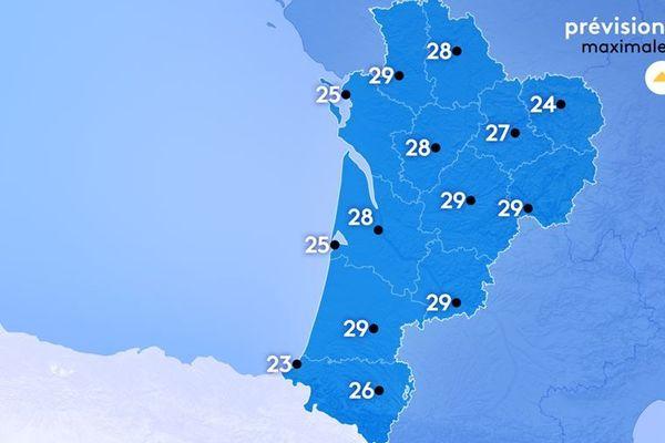 Météo France annonce des températures comprises entre 23 et 29°