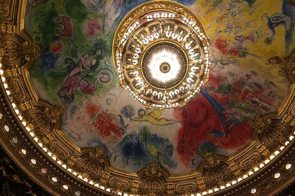 Le plafond de l'opéra Garnier, peint par Marc Chagall.